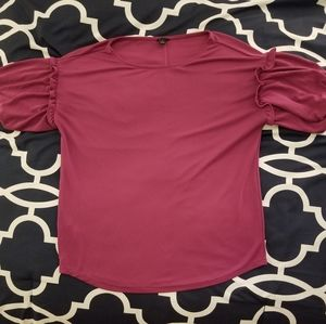 Fuschia Blouse with puffed sleeves